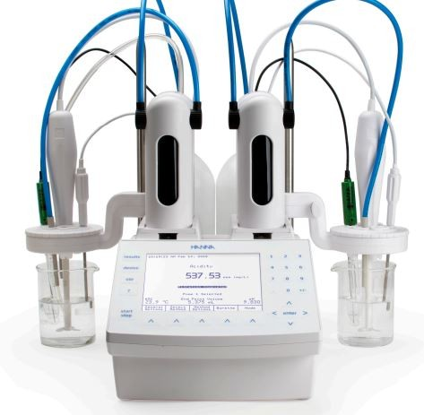 HI932C2-02 Potentiometric titrator with SINGLE pump and TWO input analog boards, 230 VAC