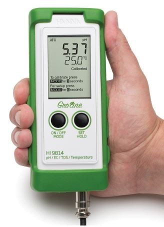 HI9814 GroLine Hydroponic Waterproof pH/EC/TDS/Temperature Portable Meter