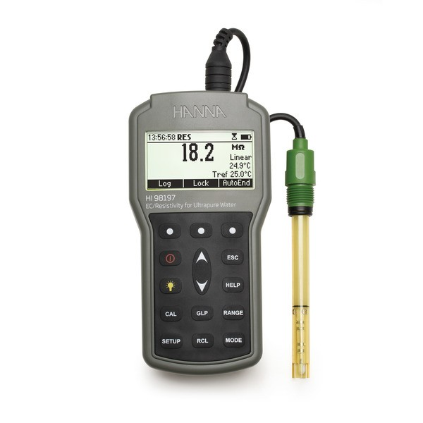 HI98197 | Professional Resistivity Meter with flow through cell